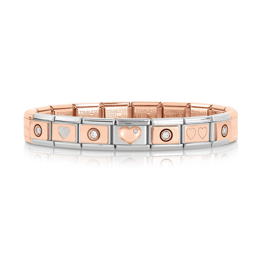 Nomination Rose Gold Bracelet with Heart and White Stone Links ... 249b4a7799