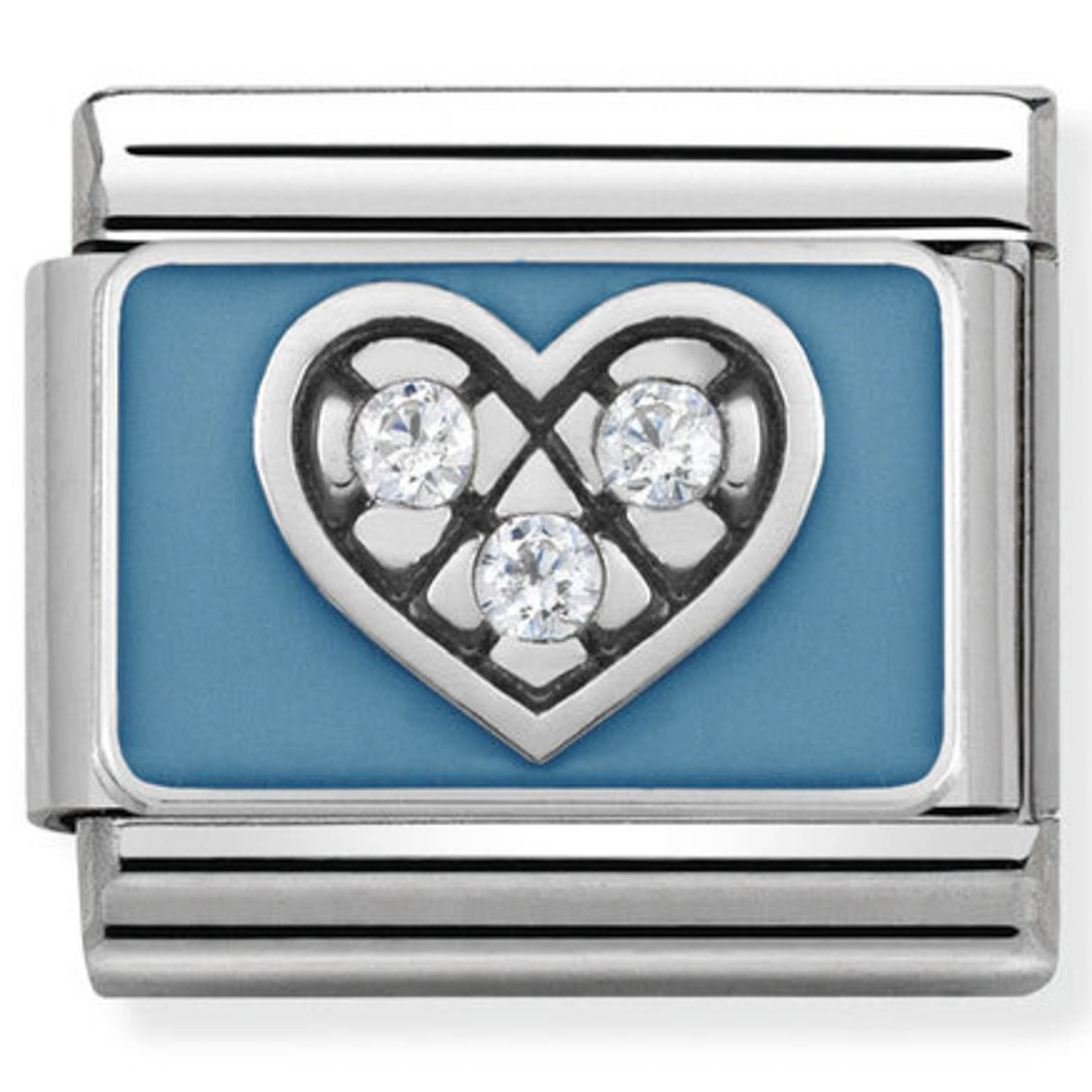 Nomination Silver CZ Heart With Light Blue  5876bade57a5