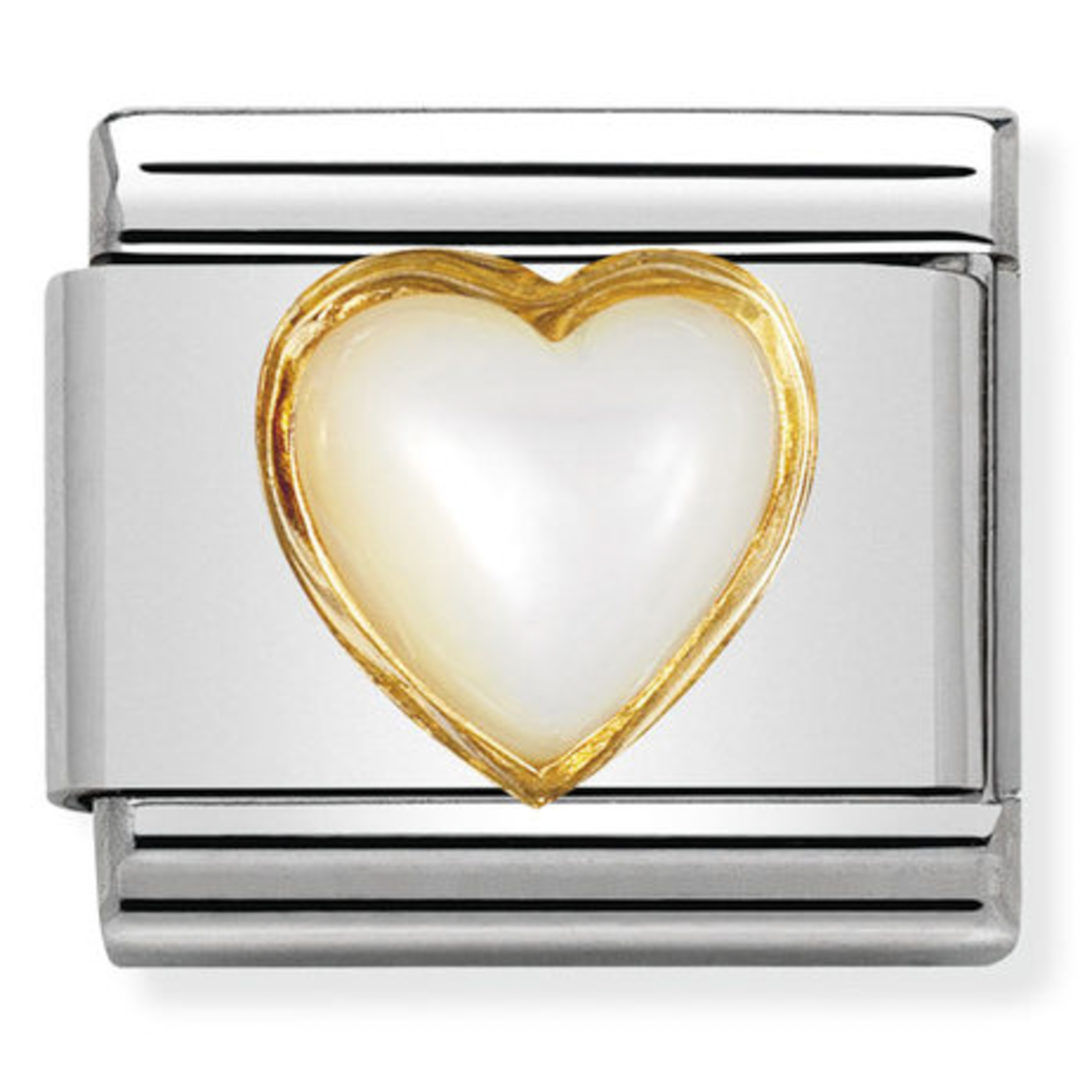 Nomination Composable Classic Gemstone White Mother of Pearl Heart made of Stainless Steel and 18K Gold LRa8j5EsT