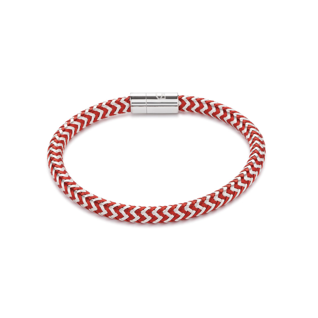 Coeur De Lion Red Silver Braided Bracelet Christopher George Jewellers