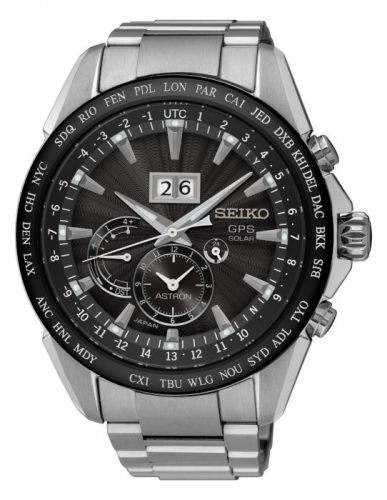 Seiko Mens Analogue Solar Powered Watch with Stainless Steel Strap