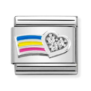 Rainbow heart Nomination charm in silver