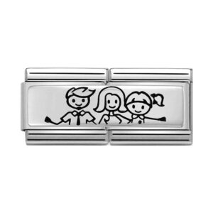 Silver family of 3 charm with little girl