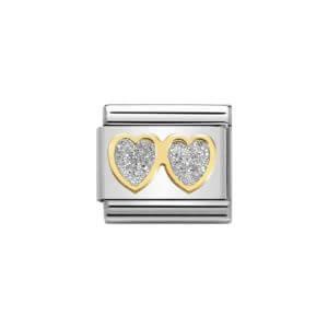 Nomination double glitter heart charm